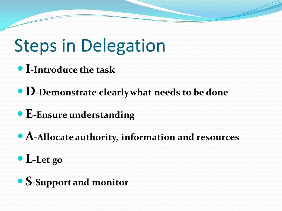 Steps in Delegation I-Introduce the task