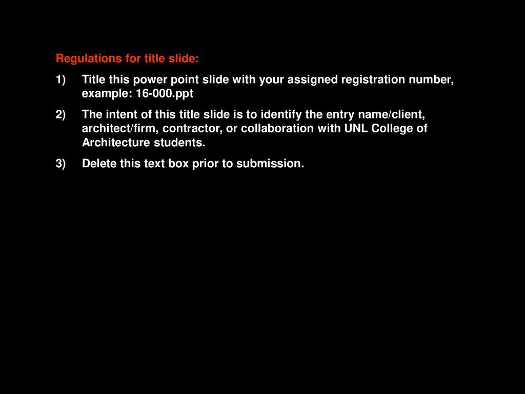 Regulations for title slide: - ppt download