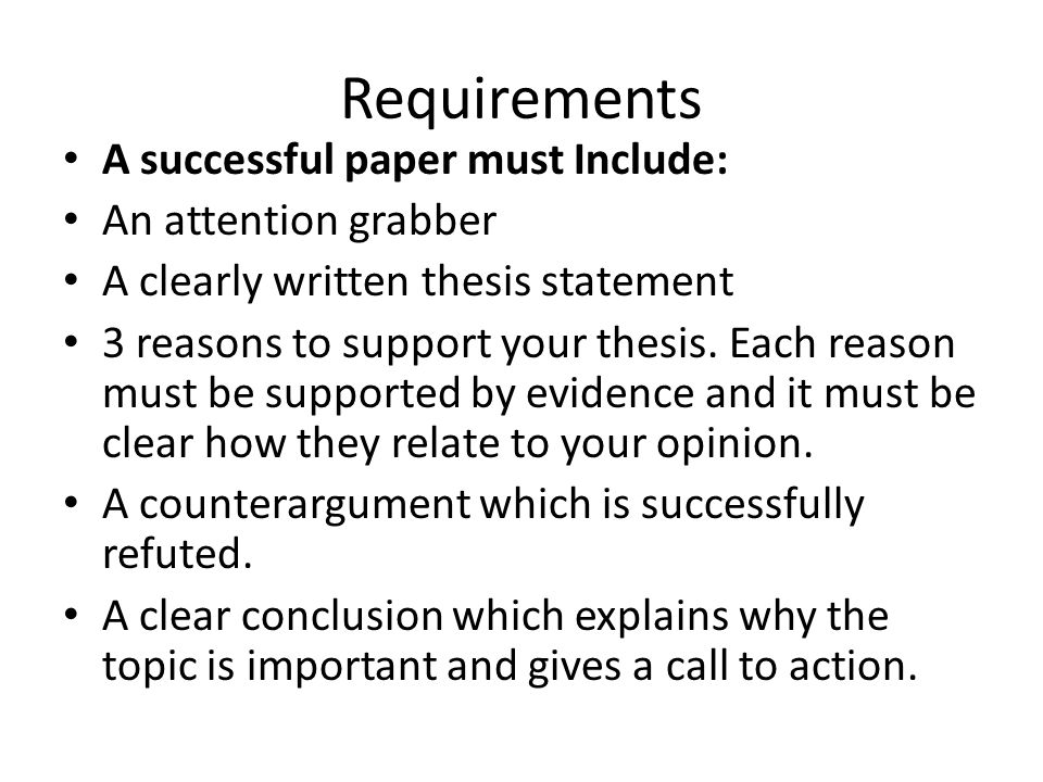 Thesis In An Essay Requirements A Successful Paper Must Include An Attention Grabber University English Essay also Essay On Religion And Science Writing An Argumentative Essay  Ppt Video Online Download Persuasive Essay Topics For High School Students