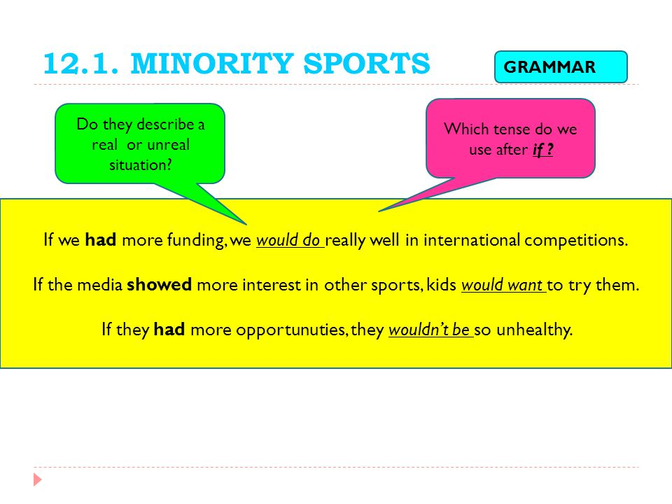 12.1. MINORITY SPORTS GRAMMAR. Which tense do we use after if Do they describe a real or unreal situation