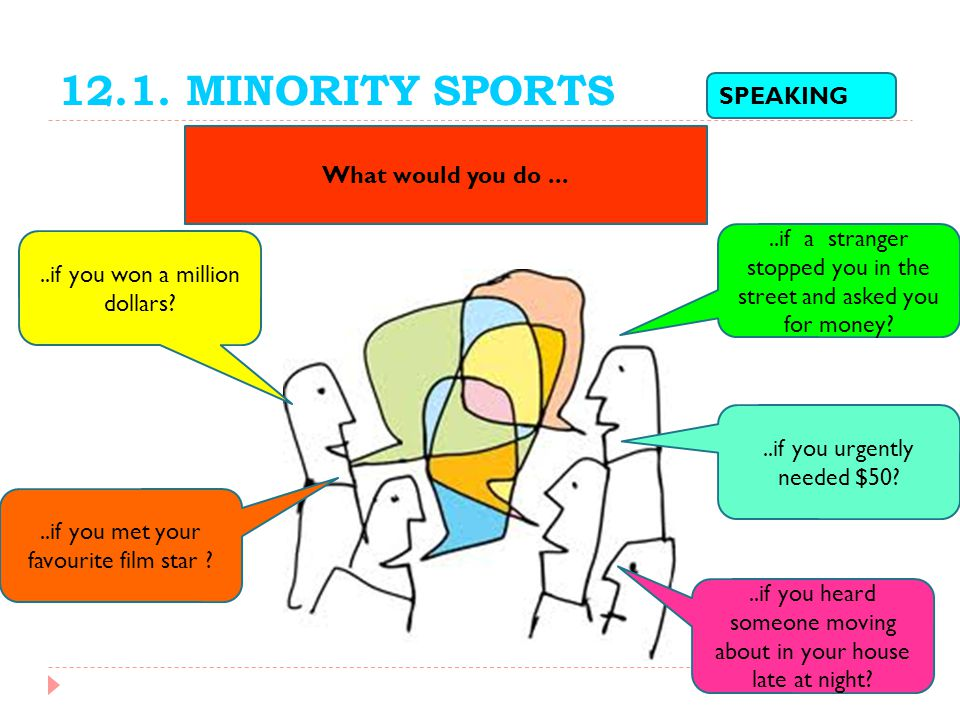 12.1. MINORITY SPORTS SPEAKING What would you do ...