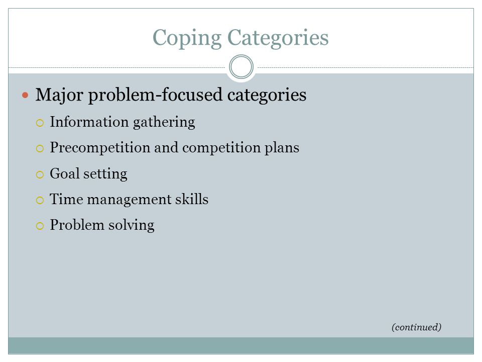 Coping Categories Major problem-focused categories
