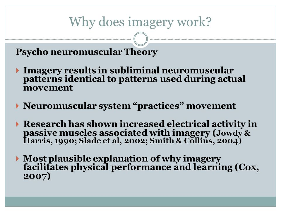 Why does imagery work Psycho neuromuscular Theory