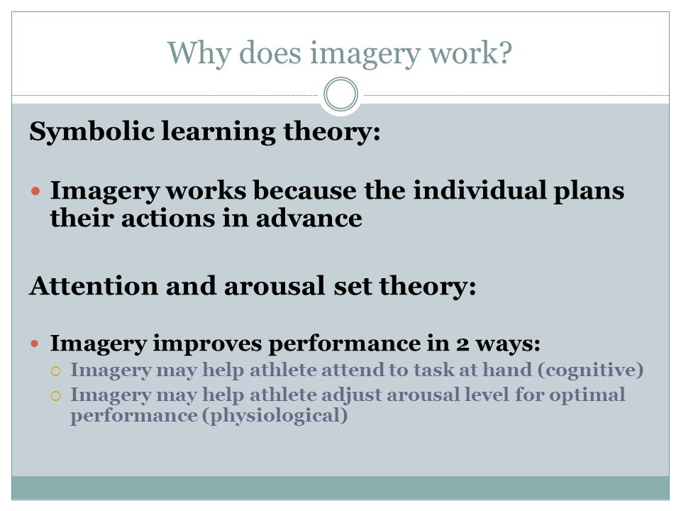 Why does imagery work Symbolic learning theory: