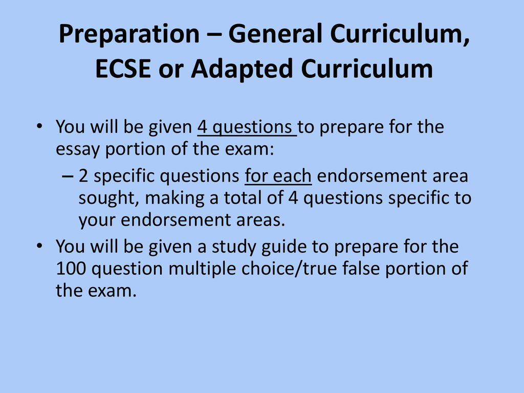 MS Ed  Special Education Written Comprehensive Exam - ppt