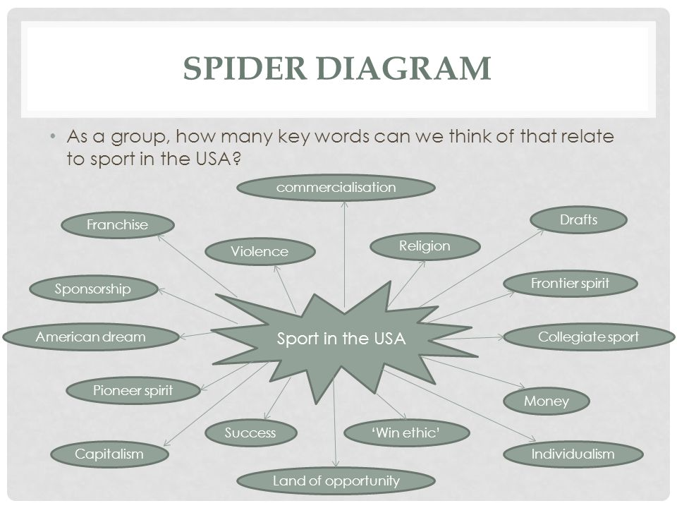 Spider diagram As a group, how many key words can we think of that relate to sport in the USA commercialisation.
