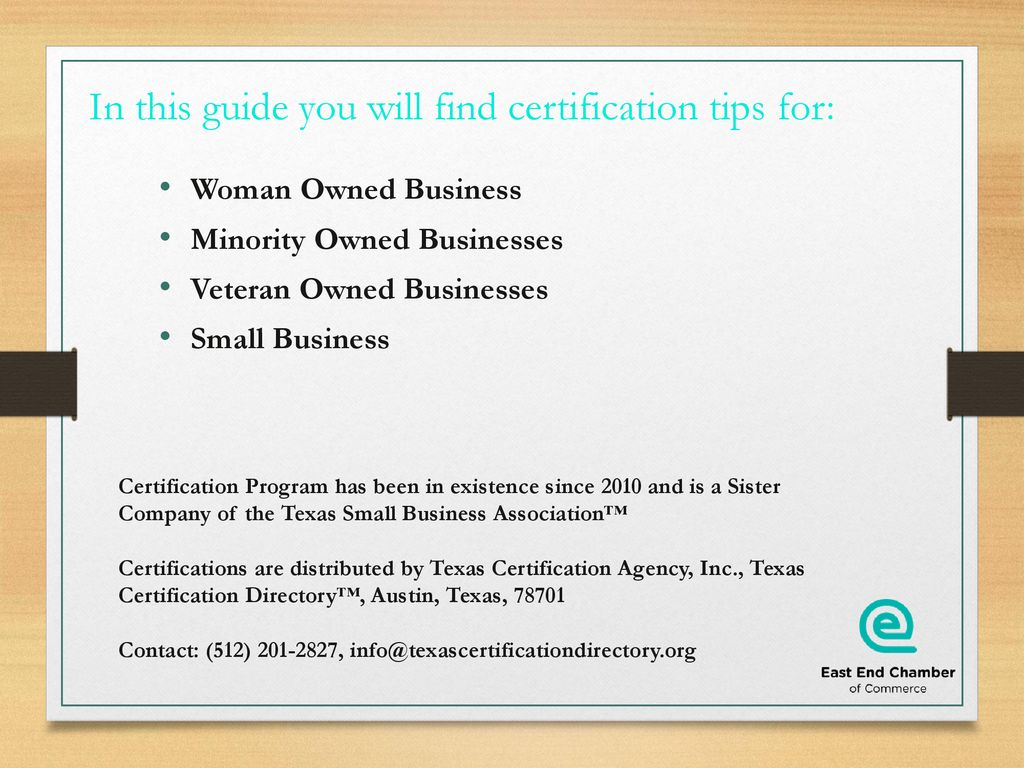 Texas Business Certifications Ppt Download