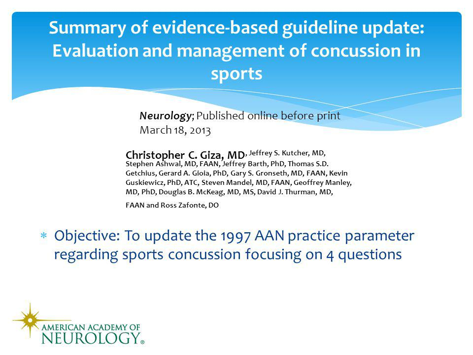 AAN Guideline Update: 4 questions