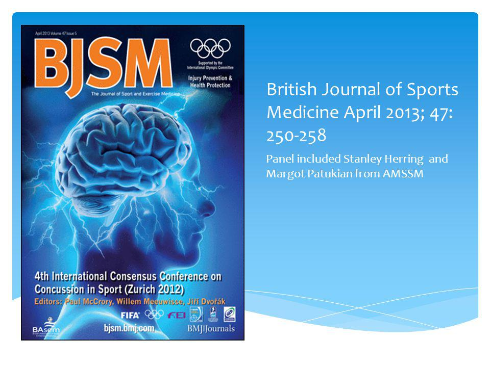 American Medical Society for Sports Medicine position statement: concussion in sport
