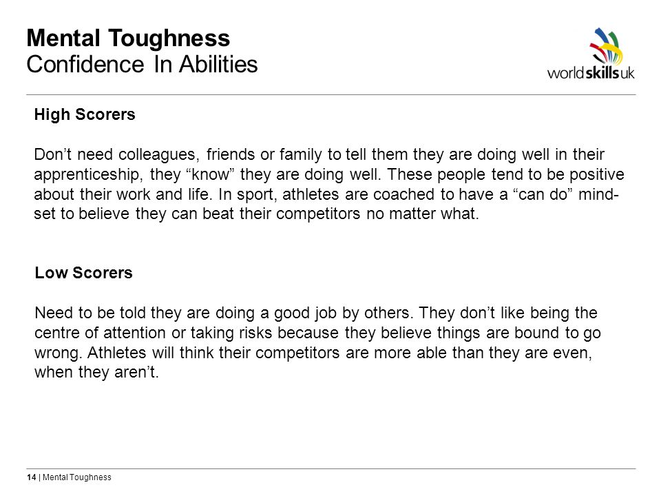 Mental Toughness Confidence In Abilities