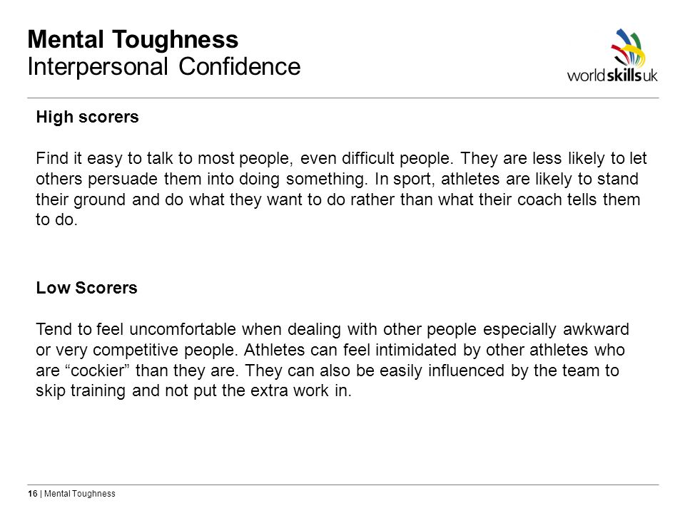 Mental Toughness Interpersonal Confidence