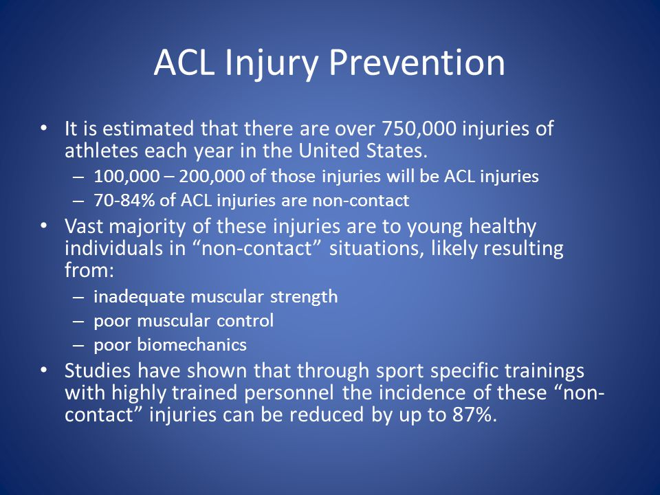 ACL Injury Prevention It is estimated that there are over 750,000 injuries of athletes each year in the United States.