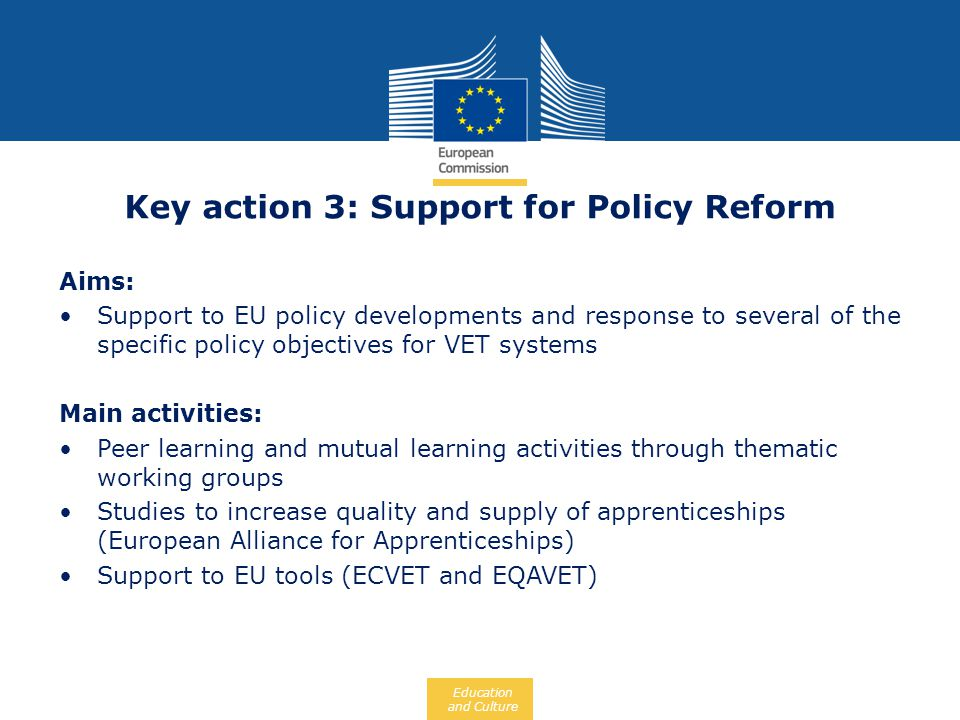 Key action 3: Support for Policy Reform