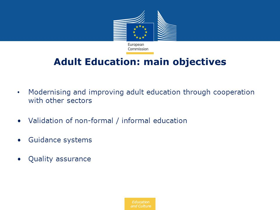 Adult Education: main objectives