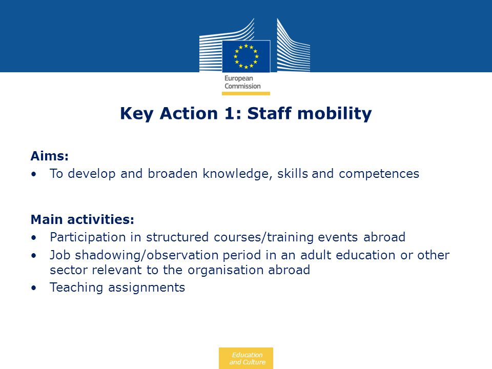 Key Action 1: Staff mobility