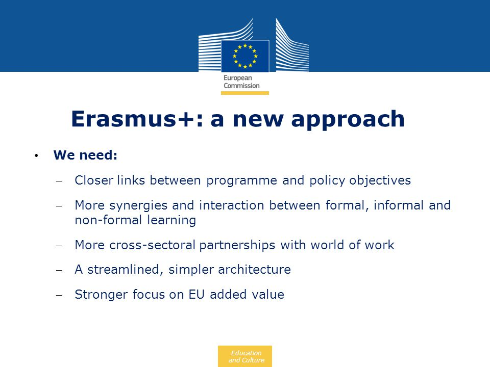 Erasmus+: a new approach