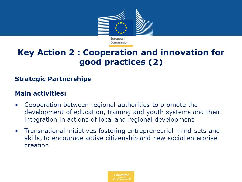 Key Action 2 : Cooperation and innovation for good practices (2)