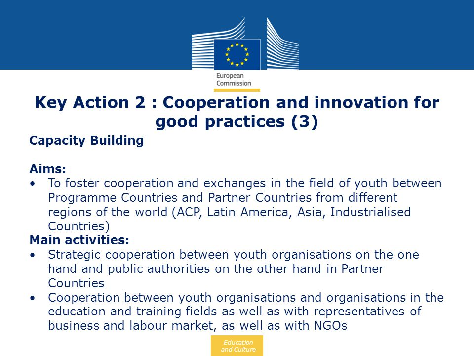 Key Action 2 : Cooperation and innovation for good practices (3)
