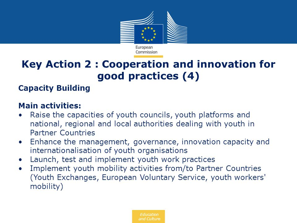 Key Action 2 : Cooperation and innovation for good practices (4)
