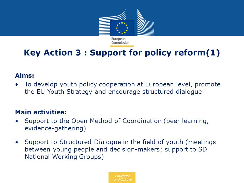 Key Action 3 : Support for policy reform(1)
