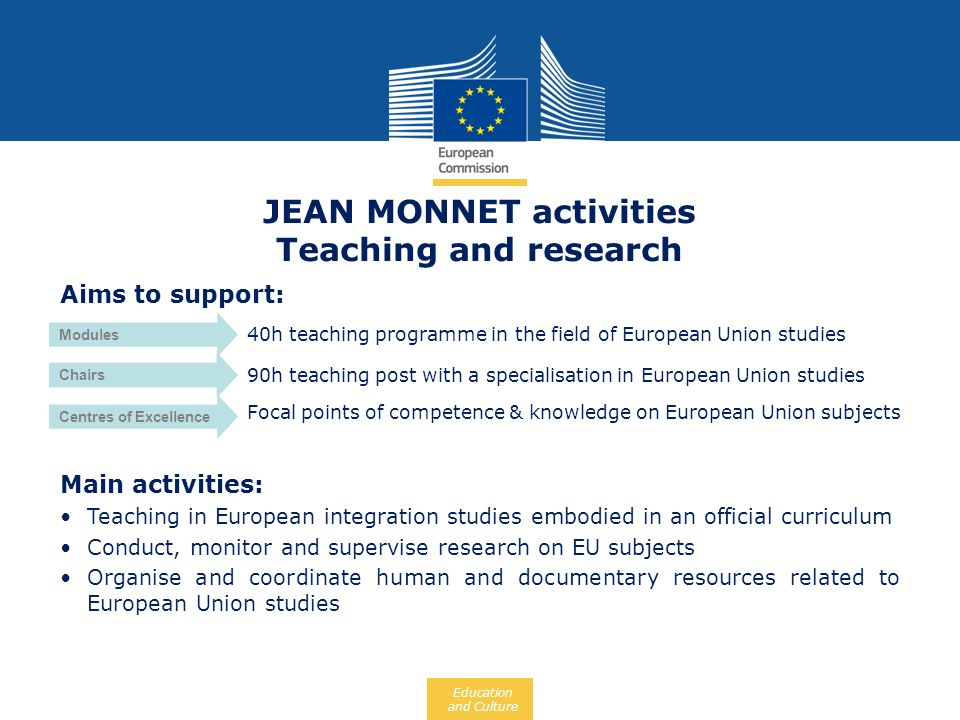 JEAN MONNET activities Teaching and research