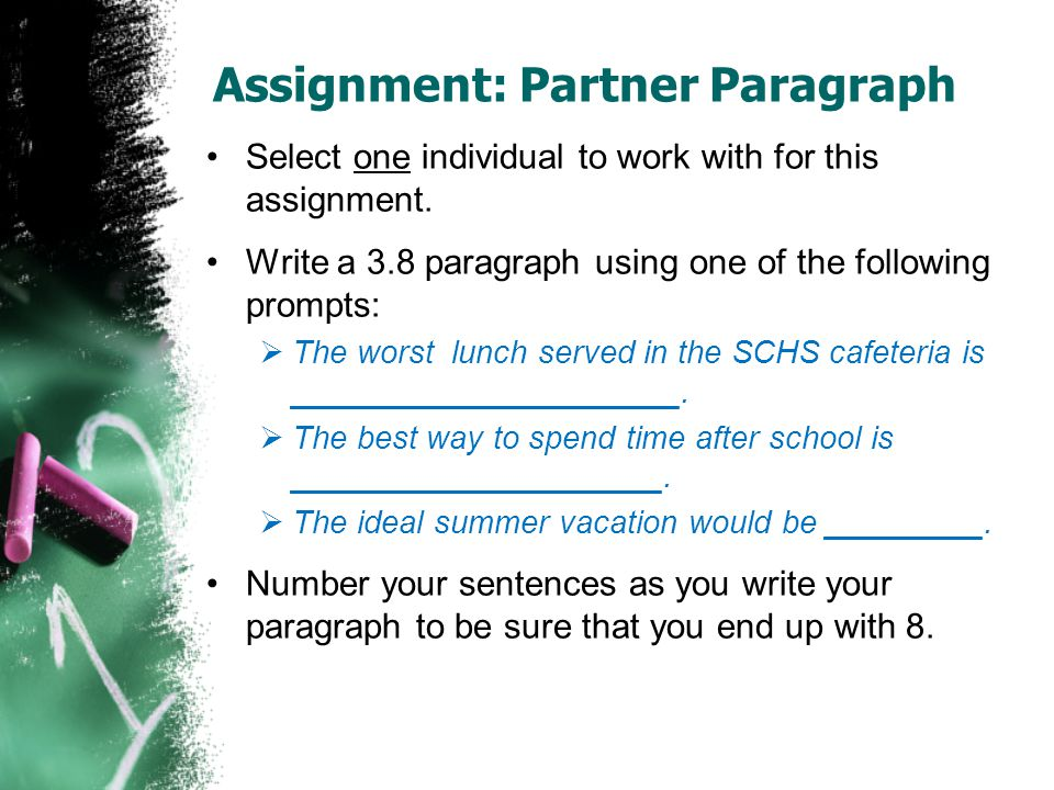 Assignment: Partner Paragraph