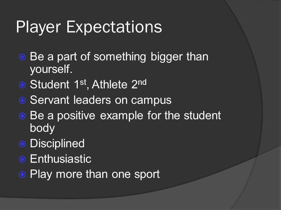 Player Expectations Be a part of something bigger than yourself.