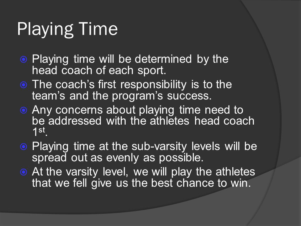 Playing Time Playing time will be determined by the head coach of each sport.