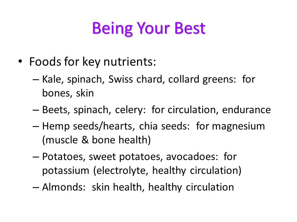 Being Your Best Foods for key nutrients: