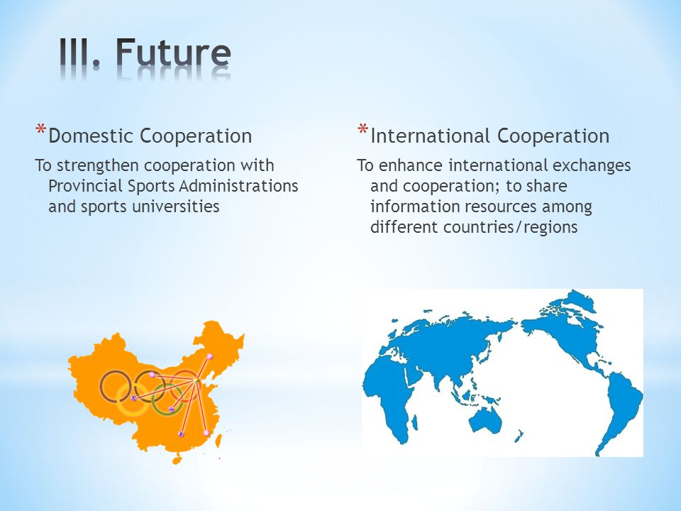 III. Future Domestic Cooperation International Cooperation