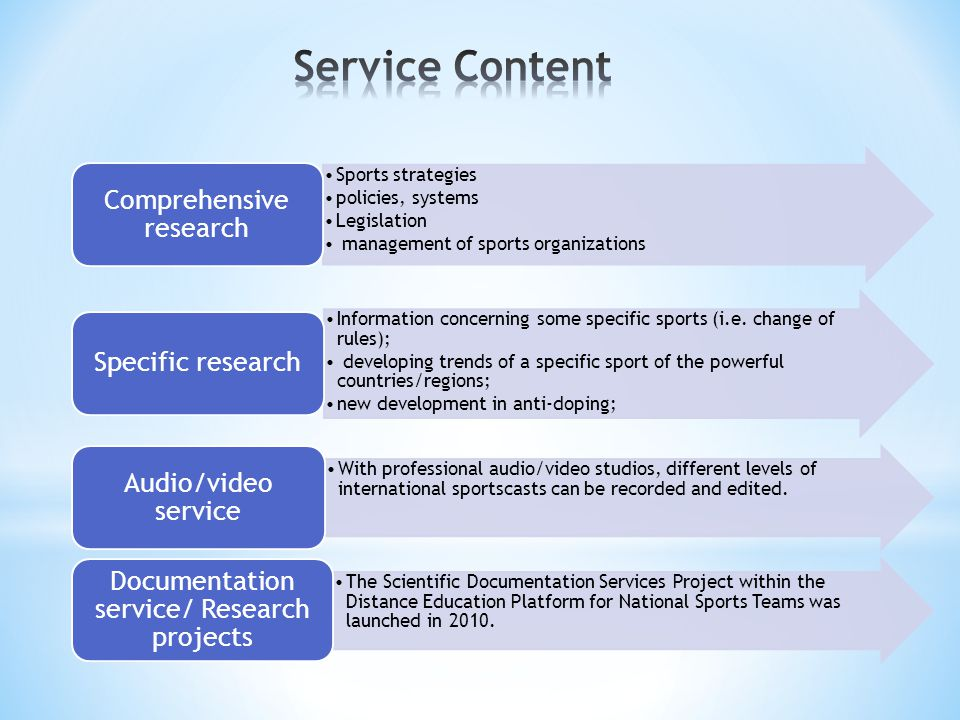 Service Content Sports strategies policies, systems Legislation