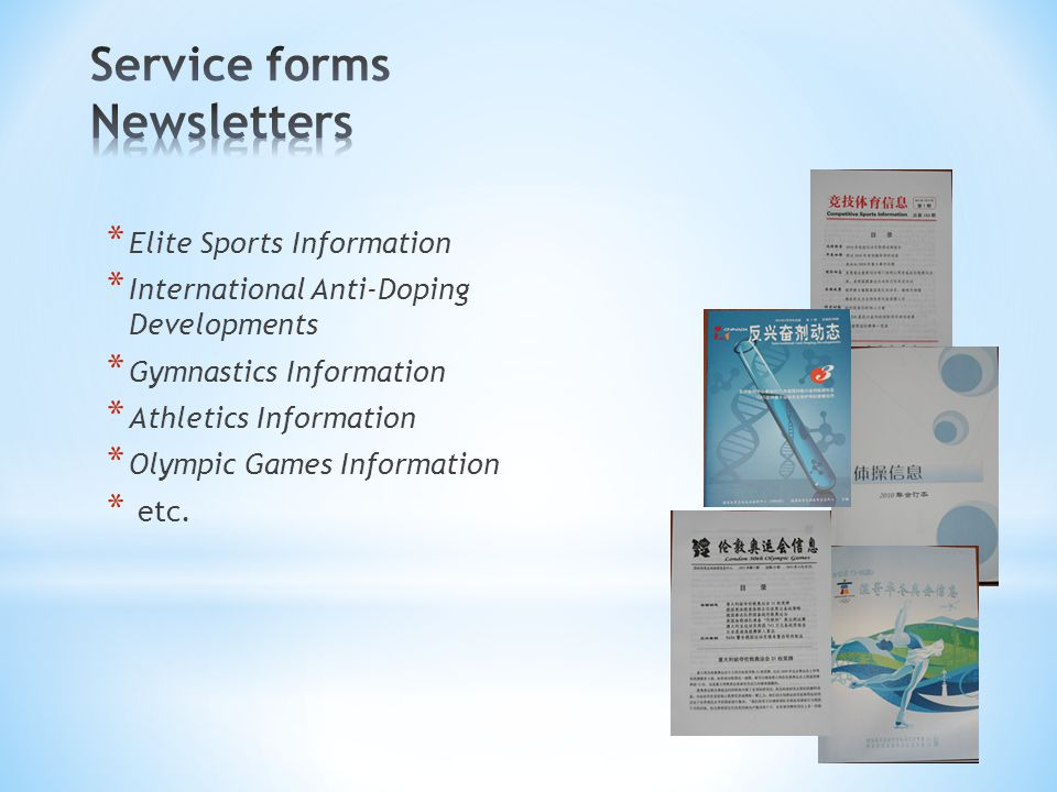 Service forms Newsletters