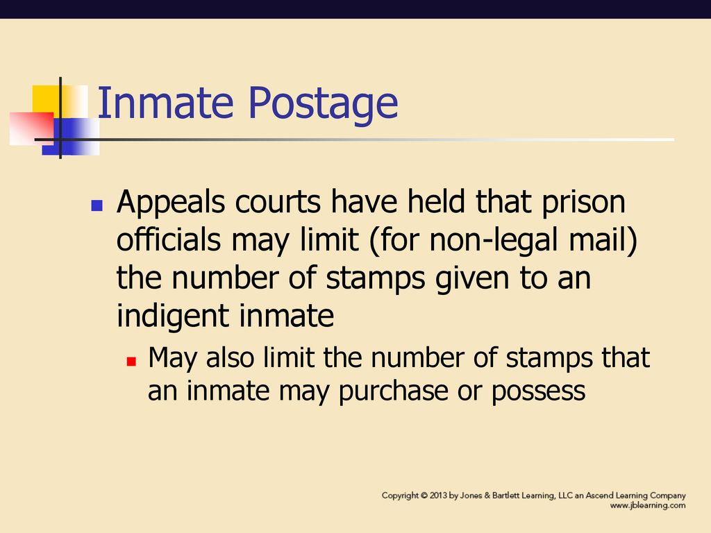 Inmate Postage Appeals Courts Have Held That Prison Officials May Limit For Non Legal