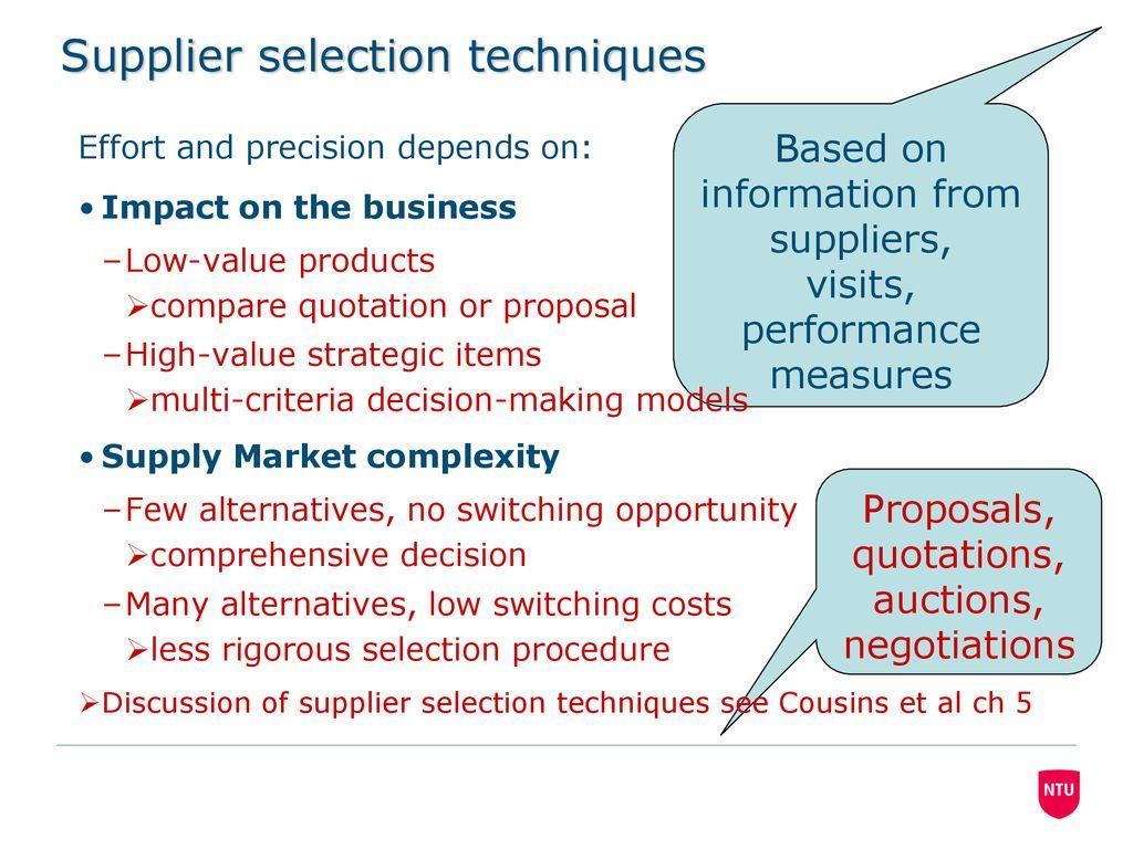 supplier selection procedure
