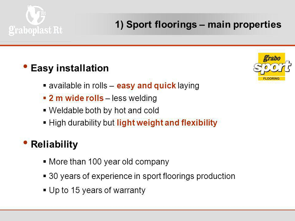 1) Sport floorings – main properties