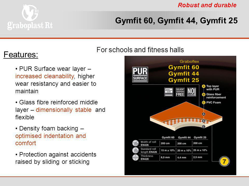 Gymfit 60, Gymfit 44, Gymfit 25 Features: