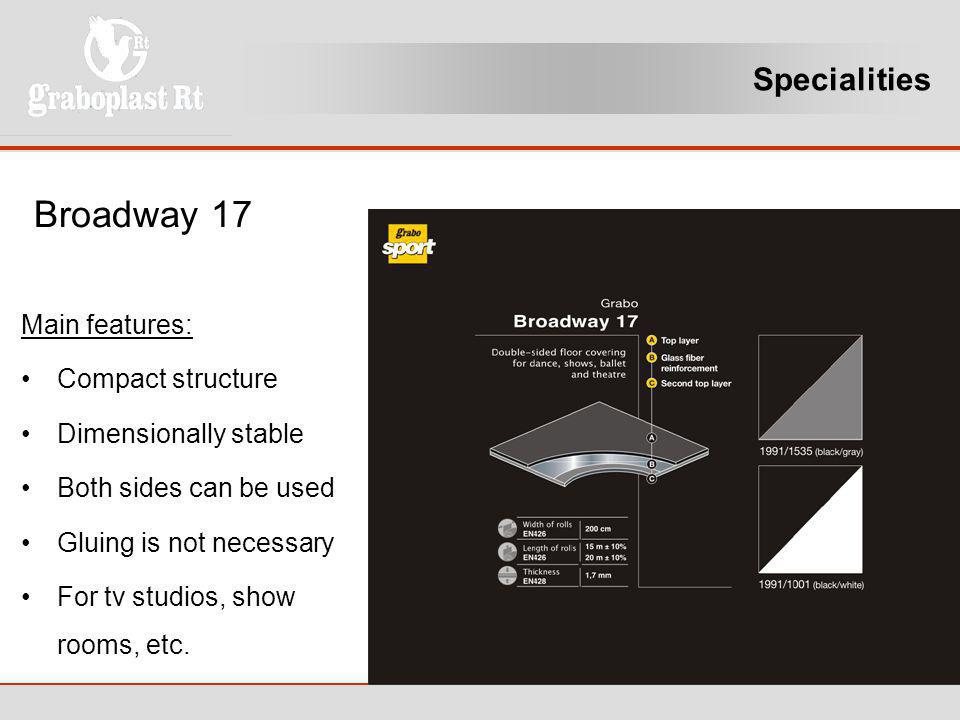 Broadway 17 Specialities Main features: Compact structure