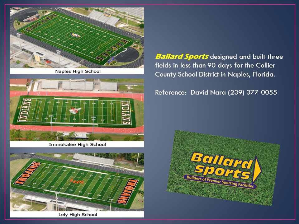 Ballard Sports designed and built three fields in less than 90 days for the Collier County School District in Naples, Florida.