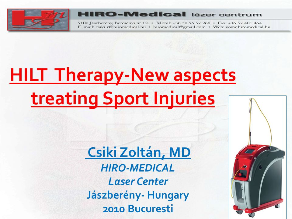 HILT Therapy-New aspects treating Sport Injuries