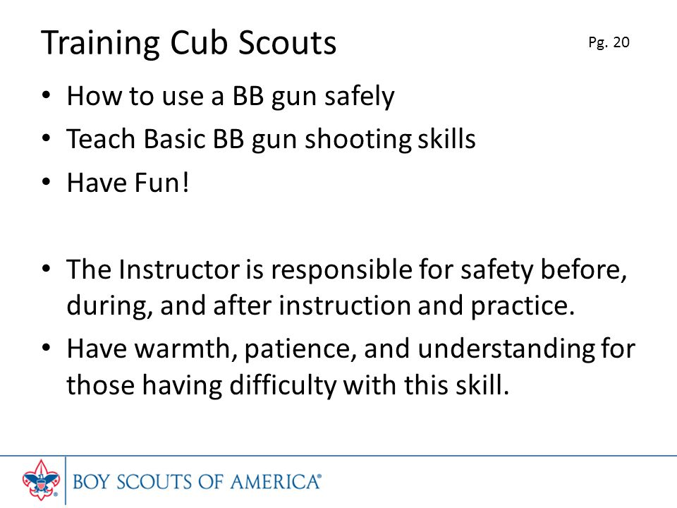 Training Cub Scouts How to use a BB gun safely