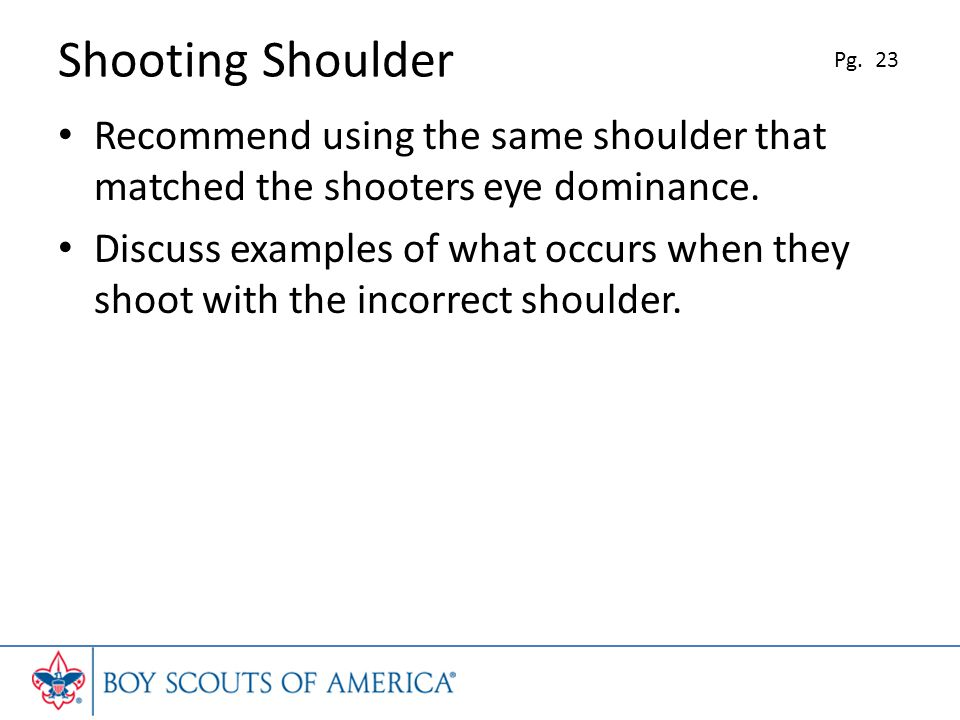 Shooting Shoulder Pg. 23. Recommend using the same shoulder that matched the shooters eye dominance.