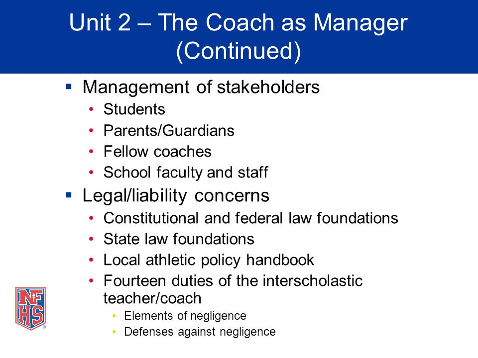 Unit 2 – The Coach as Manager (Continued)
