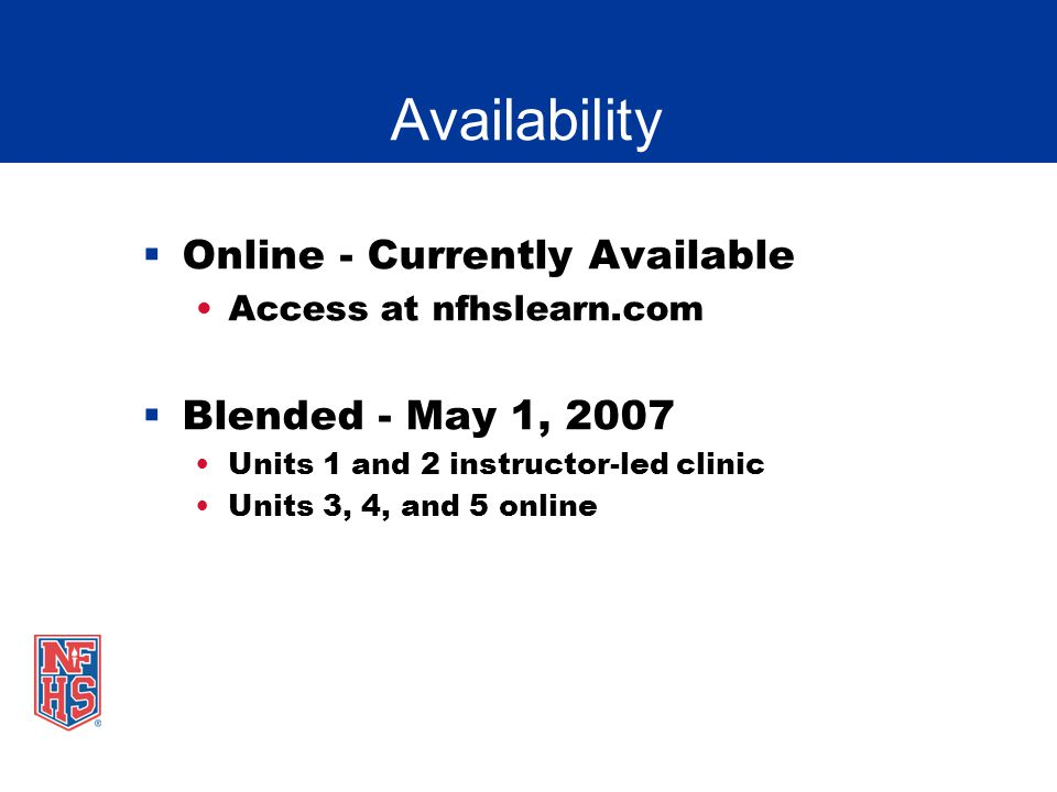 Availability Online - Currently Available Blended - May 1, 2007