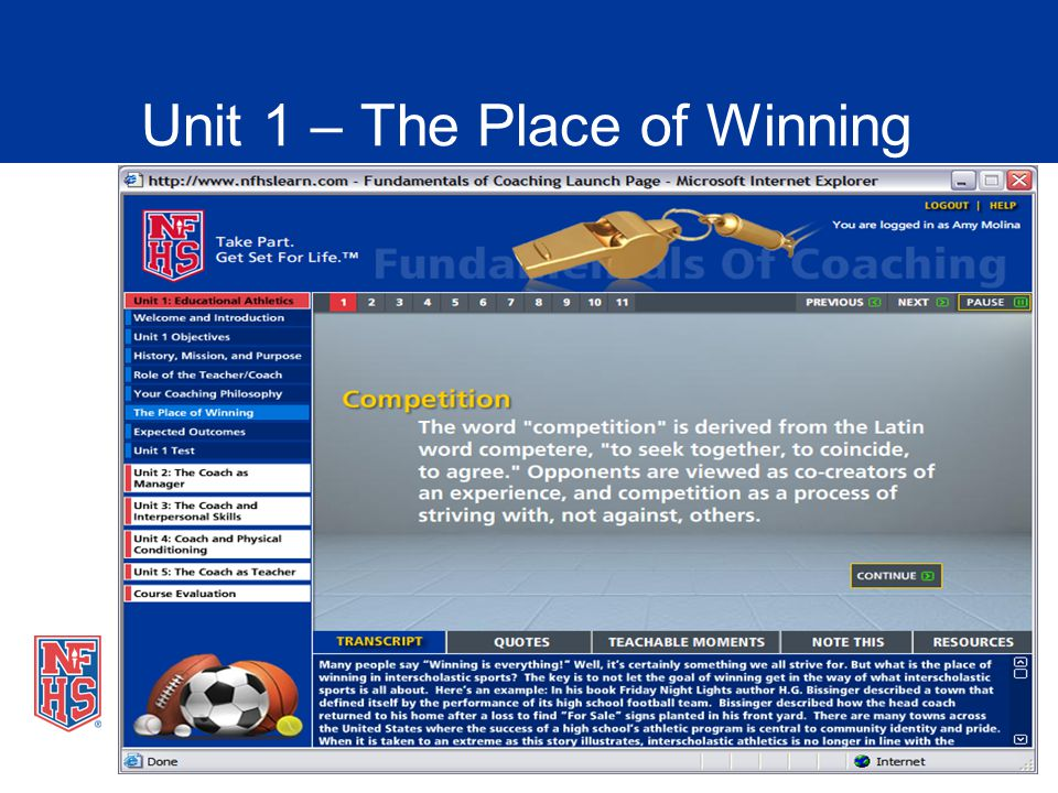 Unit 1 – The Place of Winning
