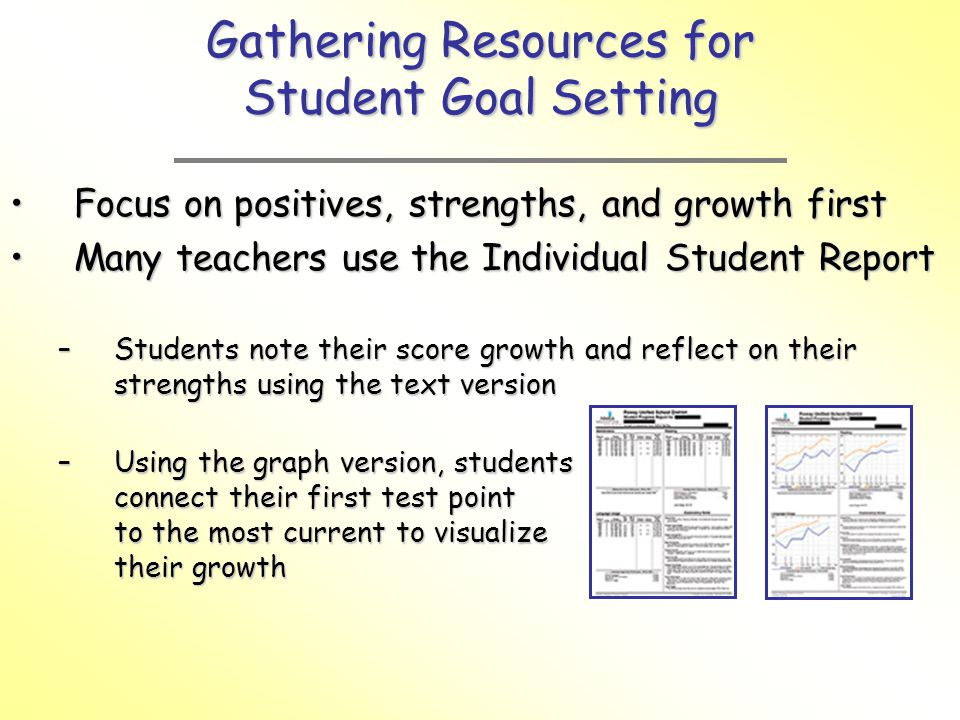 Gathering Resources for Student Goal Setting
