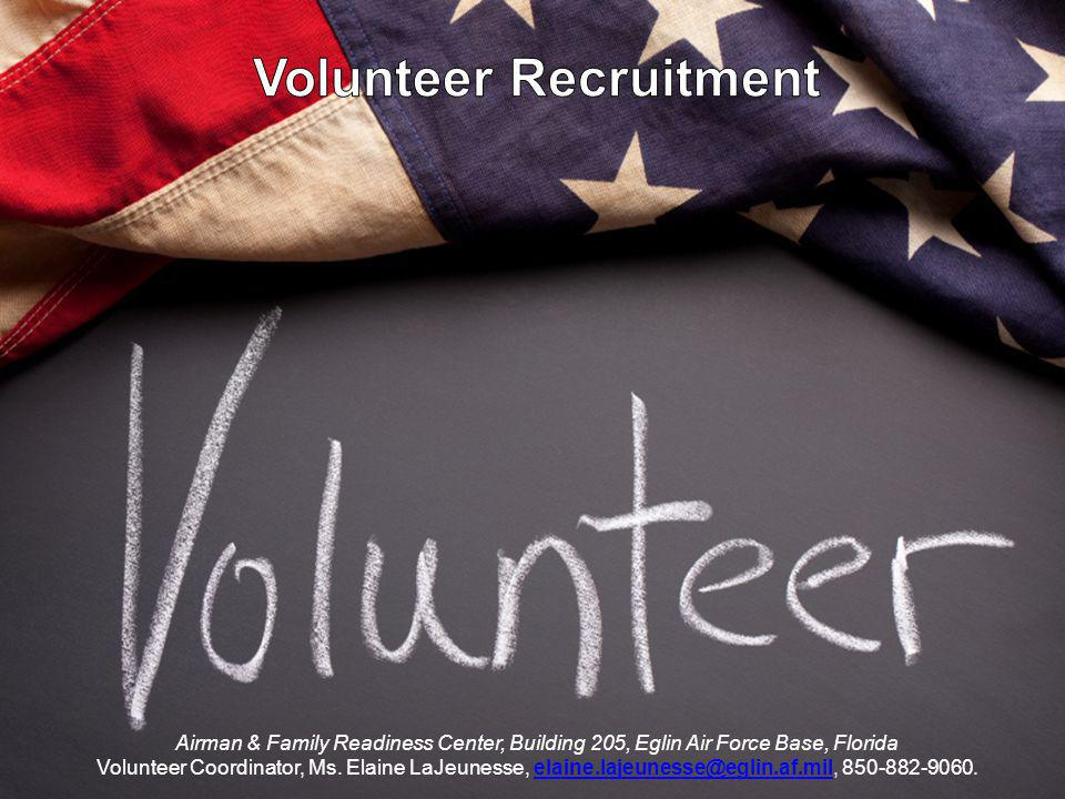 Volunteer Recruitment Airman & Family Readiness Center, Building 205, Eglin Air Force Base, Florida