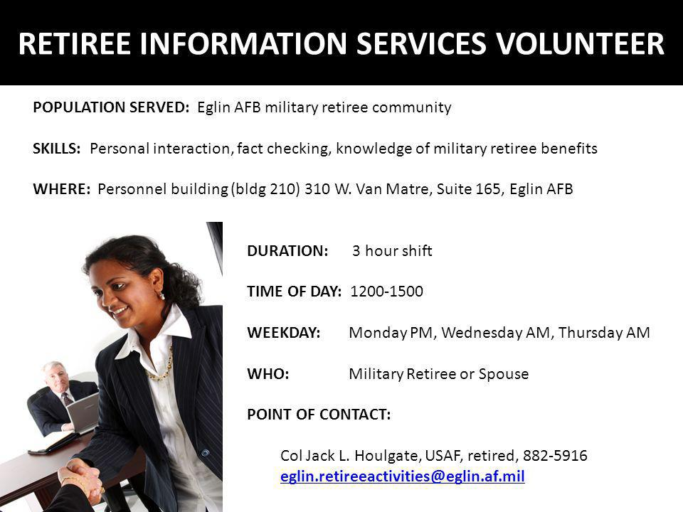 RETIREE INFORMATION SERVICES VOLUNTEER