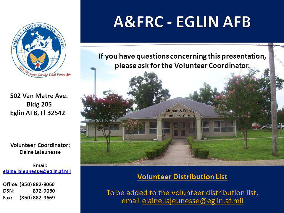 A&FRC - EGLIN AFB Volunteer Distribution List