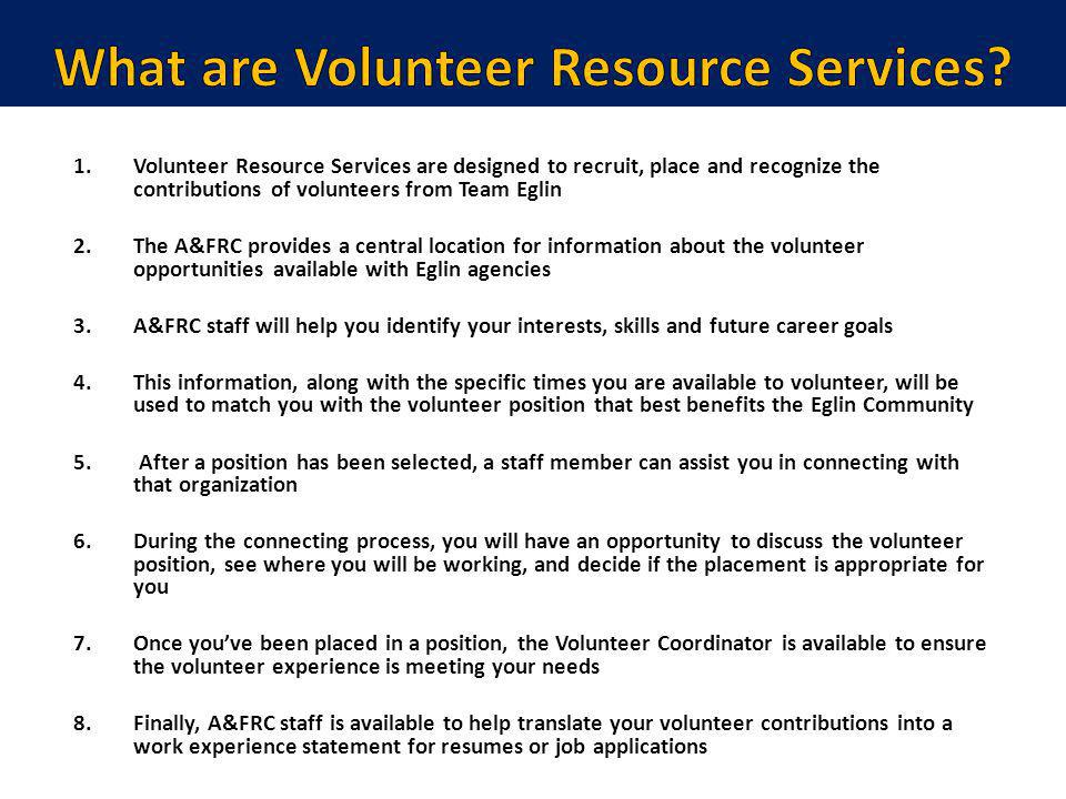 What are Volunteer Resource Services