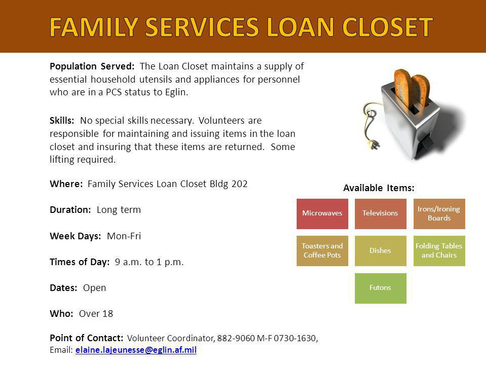 FAMILY SERVICES LOAN CLOSET
